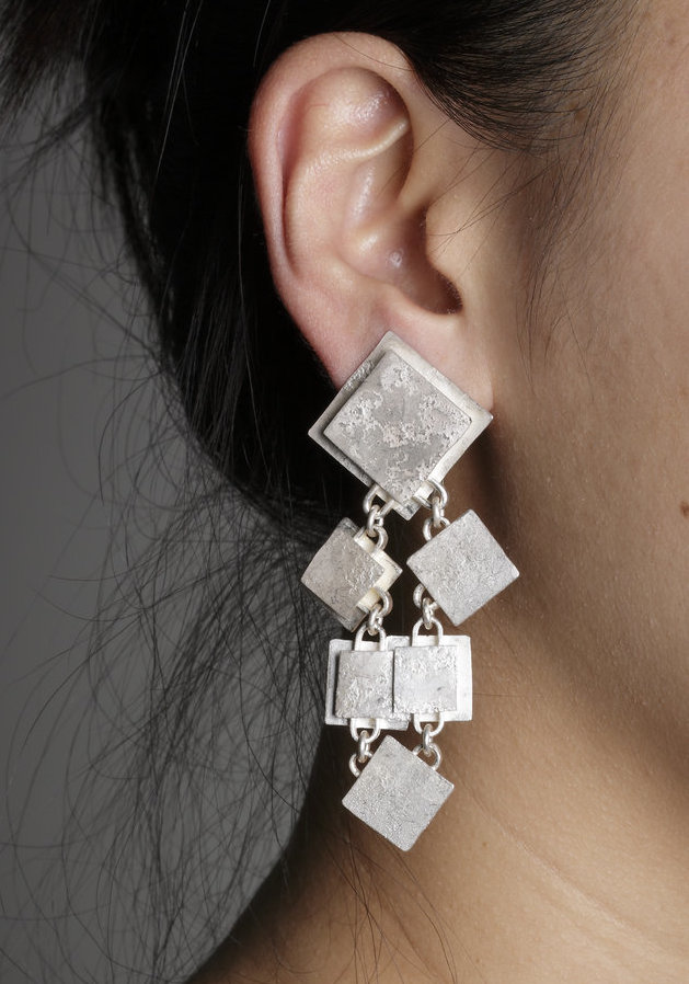 Biba Schutz, Art Jewelry, Earrings, silver, white, Studs, Dangle, Sherrie Gallerie