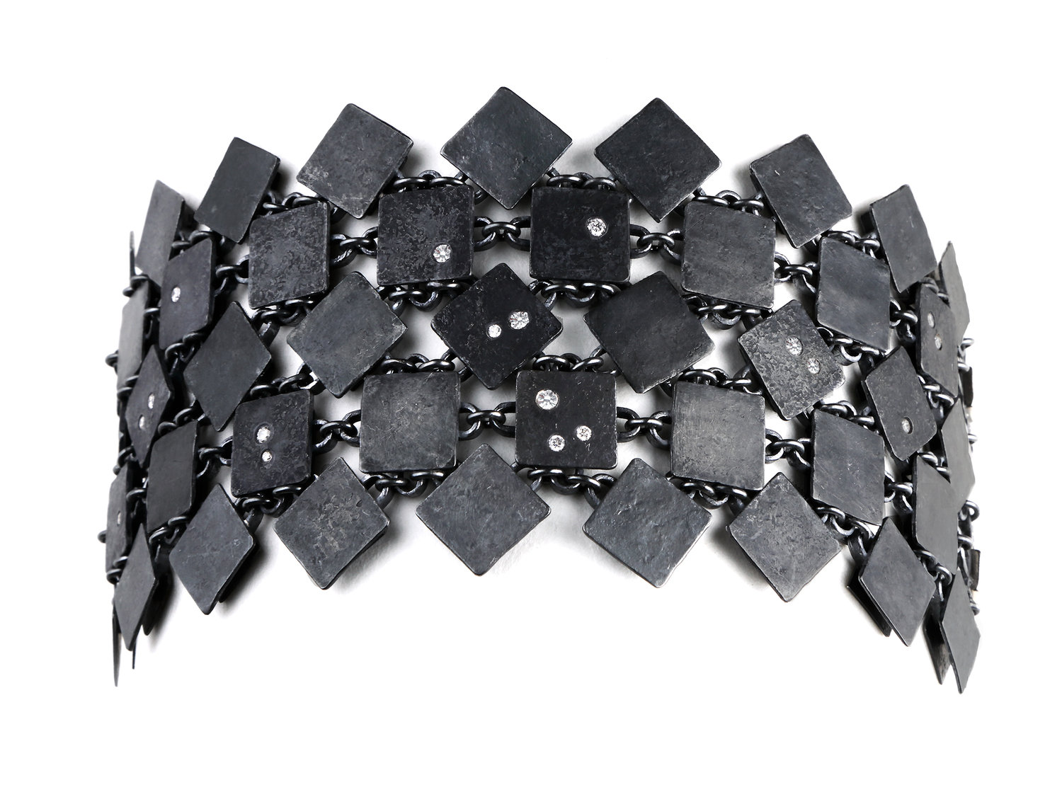 Biba Schutz, Art Jewelry, Bracelet, Silver, Diamonds, Square, Chain, Wearable, Sherrie Gallerie