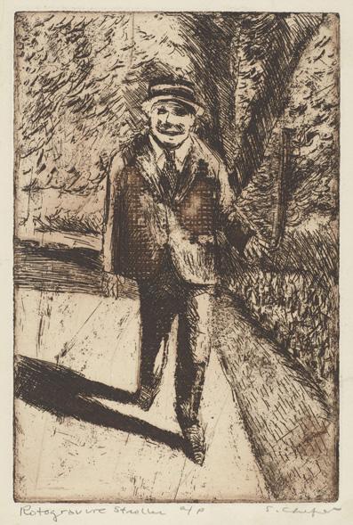 Sid Chafetz,  Rotogravure Stroller, etching , print, printmaking, portrait, postwar, midcentury, Sherrie Gallerie