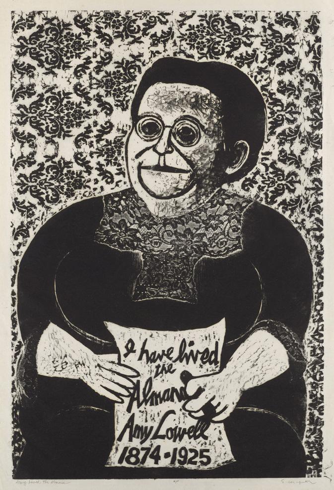 Sid Chafetz,  Amy Lived the Almanac, woodcut , print, printmaking, portrait, postwar, midcentury, Sherrie Gallerie