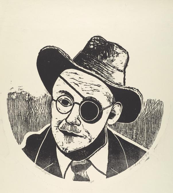 Sid Chafetz, J ames Joyce , woodcut, print, printmaking, portrait, postwar, midcentury, Sherrie Gallerie