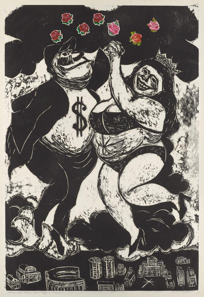 Sid Chafetz, Mars and Venus Last Tango in Columbus, woodcut, print, printmaking, Ohio State University, Sherrie Gallerie