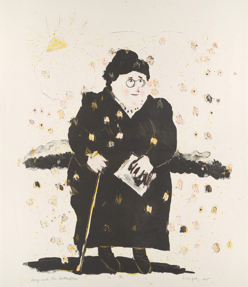 Sid Chafetz, Amy and the Butterflies, lithograph, print, printmaking, portrait, Amy Lowell, Sherrie Gallerie