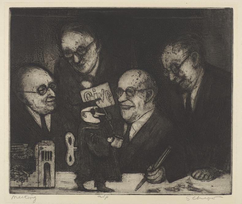 Sid Chafetz, Meeting, etching, print, printmaking, Ohio State University, Sherrie Gallerie