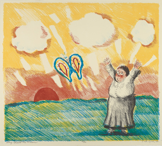 Sid Chafetz,  Amy Greets the Dawn , lithograph, 1988, print, printmaking, Amy Lowell, portrait, Sherrie Gallerie