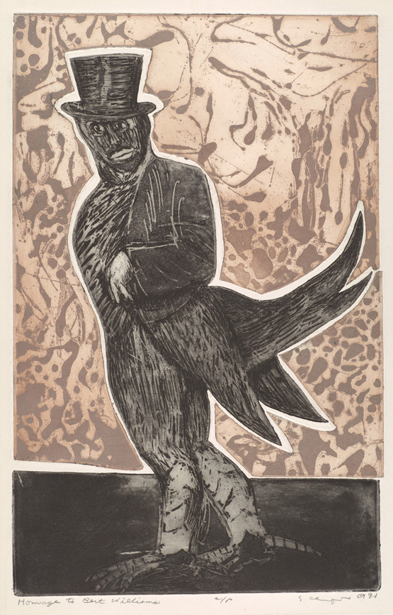 Sid Chafetz, Homage to Bert Williams, two plate color etching, print, printmaking, portrait, 1970, Sherrie Gallerie