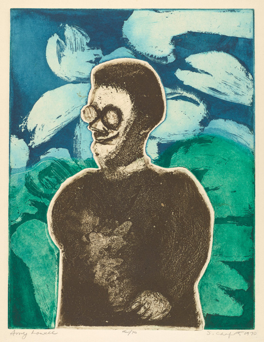 Sid Chafetz, Amy Lowell, color two plate etching, print, printmaking, portrait, 1970, Sherrie Gallerie