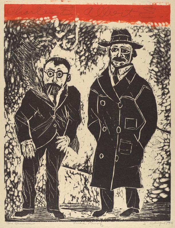 Sid Chafetz, Two Geniuses, Albert Einstein, Charles Steinmetz, woodcut, printmaking, print, portrait, midcentury, 1970, Sherrie Gallerie