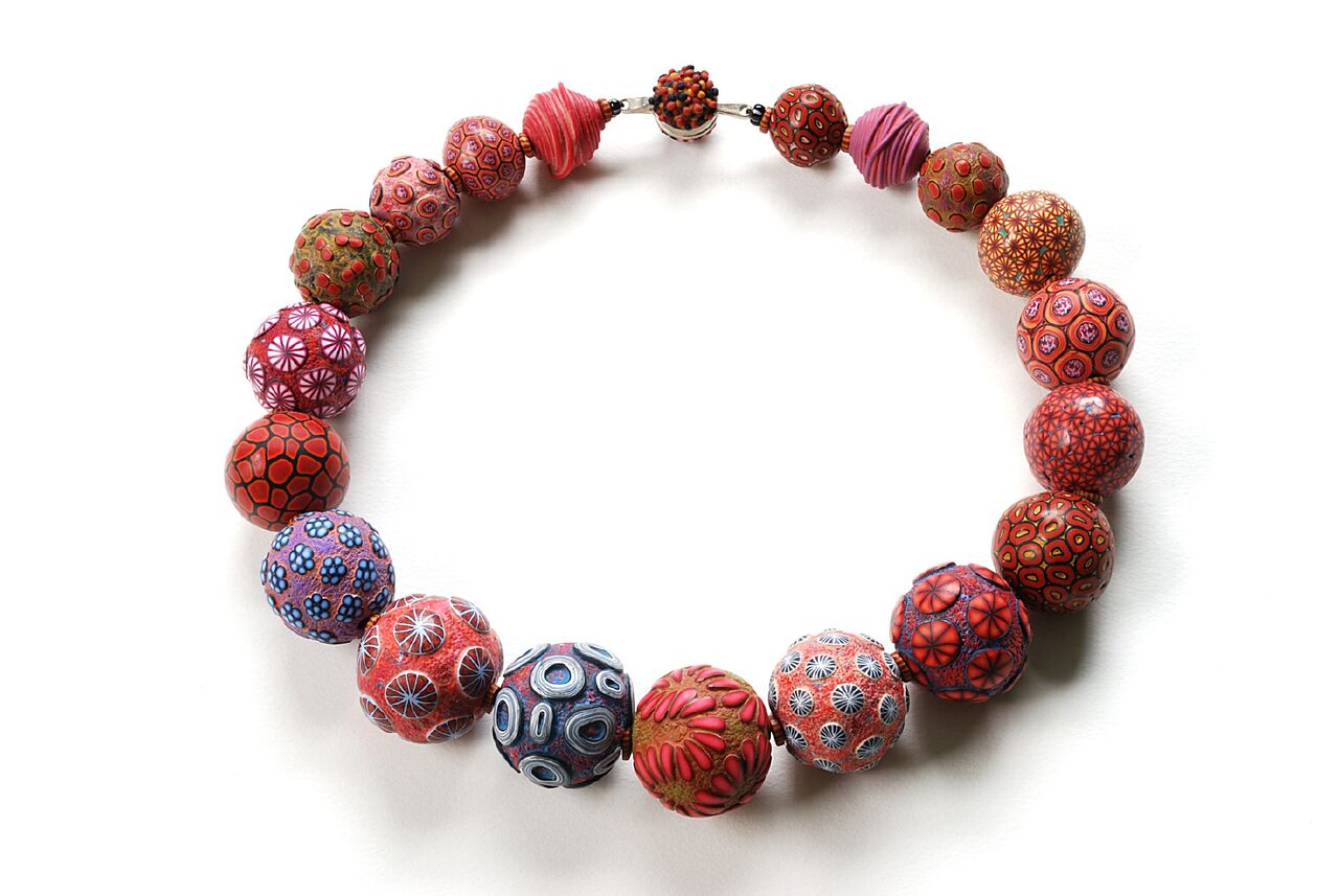 Ford Forlano, Big Bead Necklace, polymer clay, art jewelry, patterns, red, purple, Sherrie Gallerie
