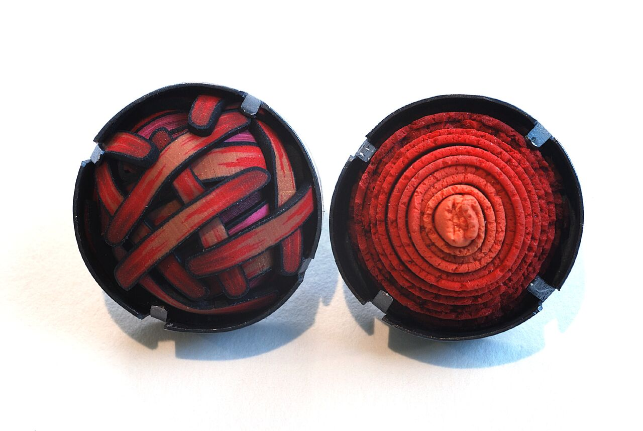 Ford Forlano, Button Earrings, polymer clay, art jewelry, patterns, red, silver, studs, Sherrie Gallerie