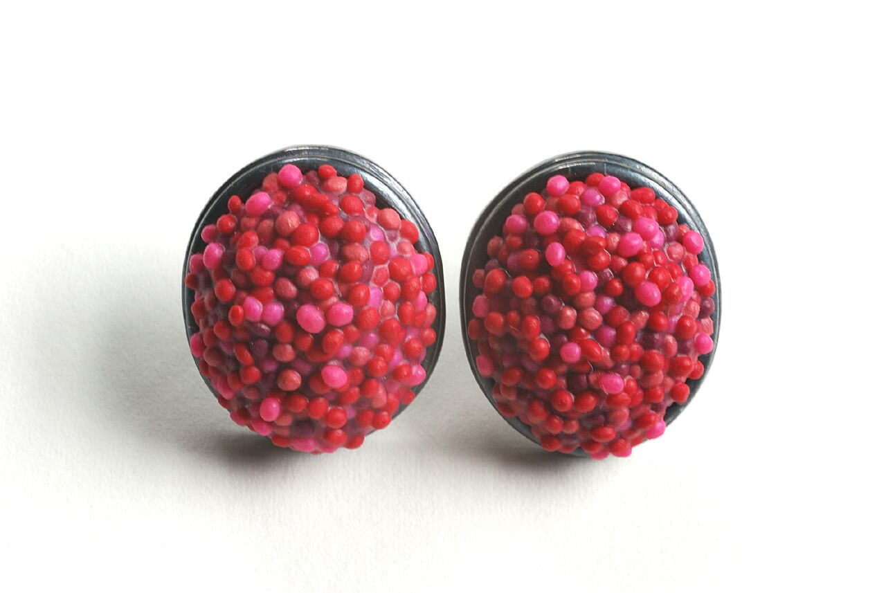 Ford Forlano, Button Earrings, polymer clay, art jewelry, dots, red, pink, silver, studs, Sherrie Gallerie