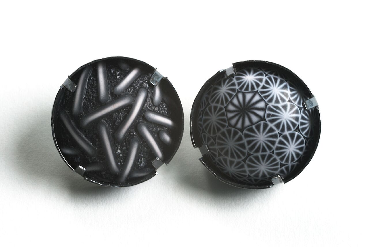 Ford Forlano, Button Earrings, polymer clay, art jewelry, patterns, black and white, silver, studs, Sherrie Gallerie