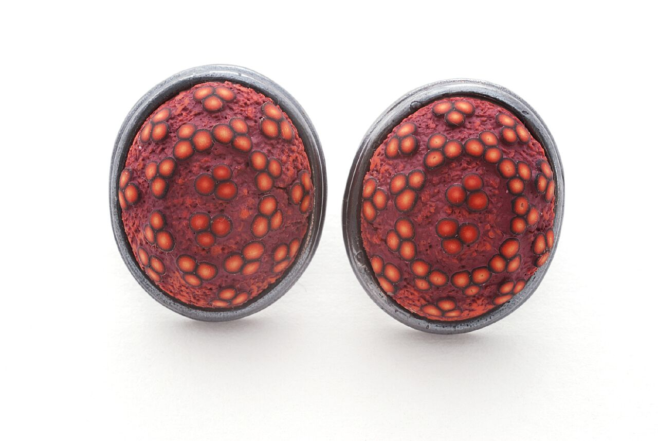 Ford Forlano, Button Earrings, polymer clay, art jewelry, studs, dots, silver, Sherrie Gallerie