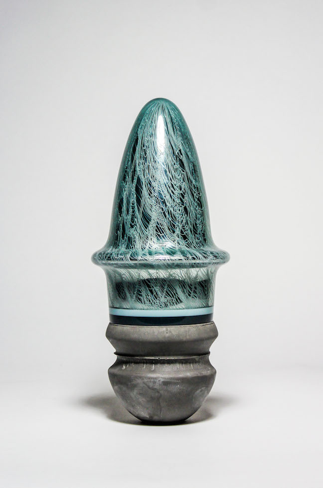 "Trey Snowdon, ""Orka 33,"" glass, cement, 12.5x6x6 in"