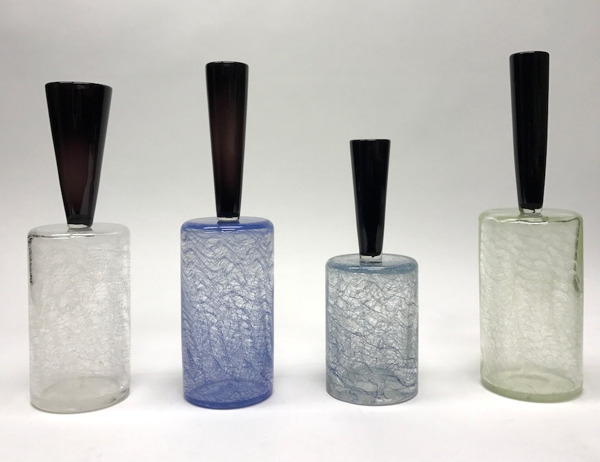 "Trey Snowdon, ""Merletto Bottles,"" glass, assorted sizes"