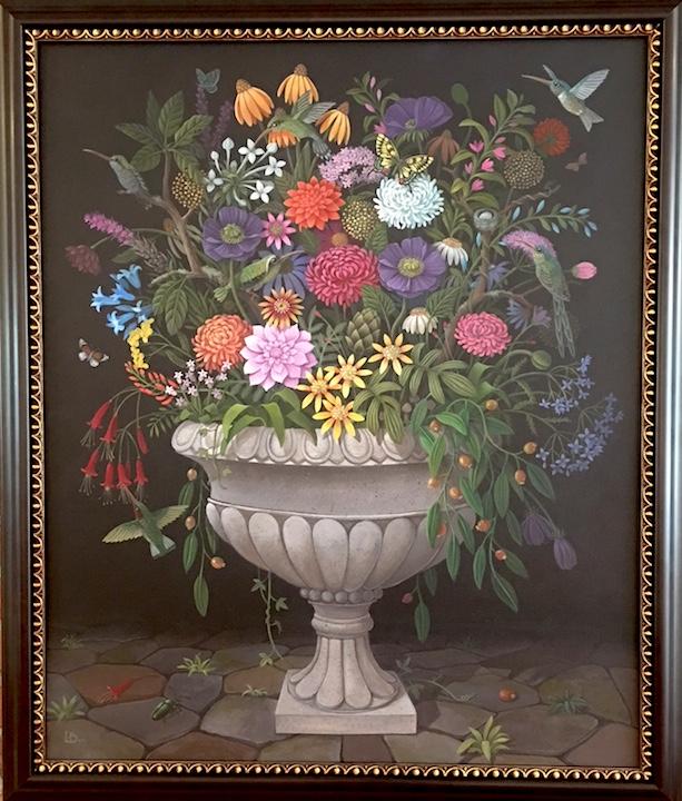 Laine Bachman, Hummingbird Bouquet, acrylic painting, nature, landscape, Sherrie Gallerie