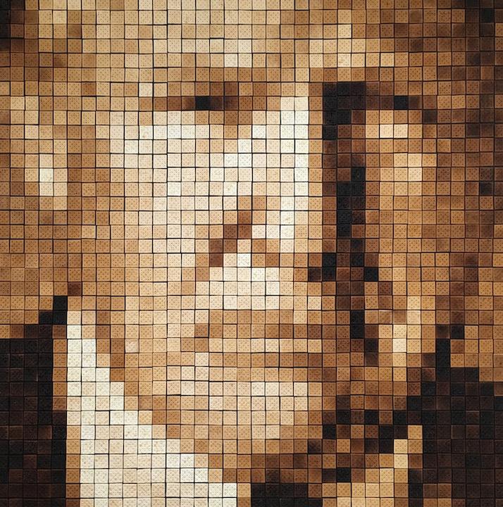 Christian Faur President Donald Trump Saltine Cracker pointilism portrait Sherrie Gallerie Front Triennial