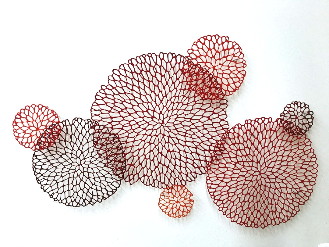 Lauren Eastman Fowler glass wall piece installation kiln formed flower dahlia petal circle decorative red Sherrie Gallerie