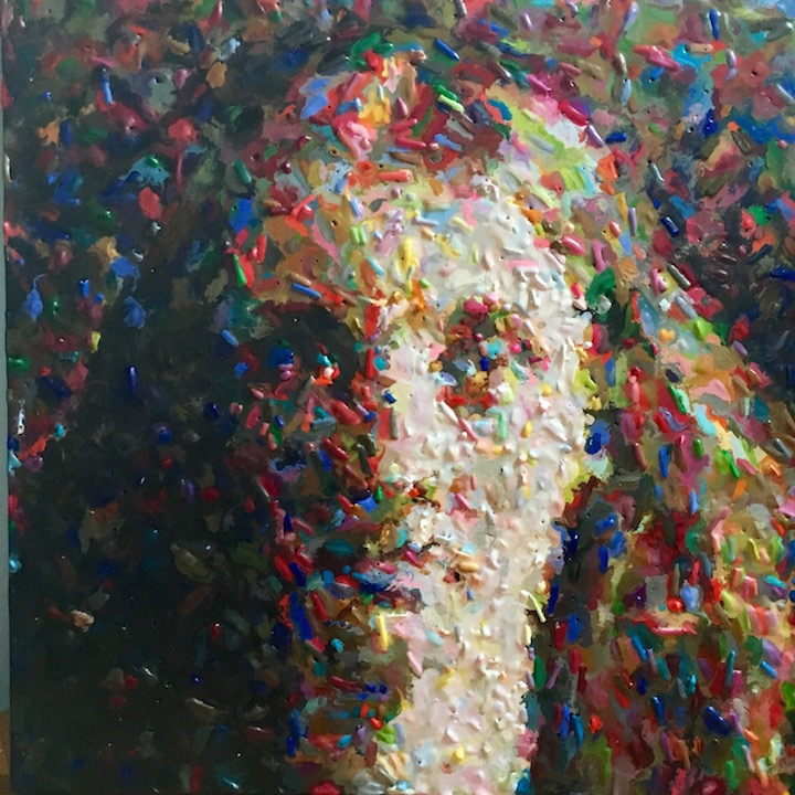 Christian Faur portrait of a girl woman crayon art pointillism fused expressionism crayola Sherrie Gallerie