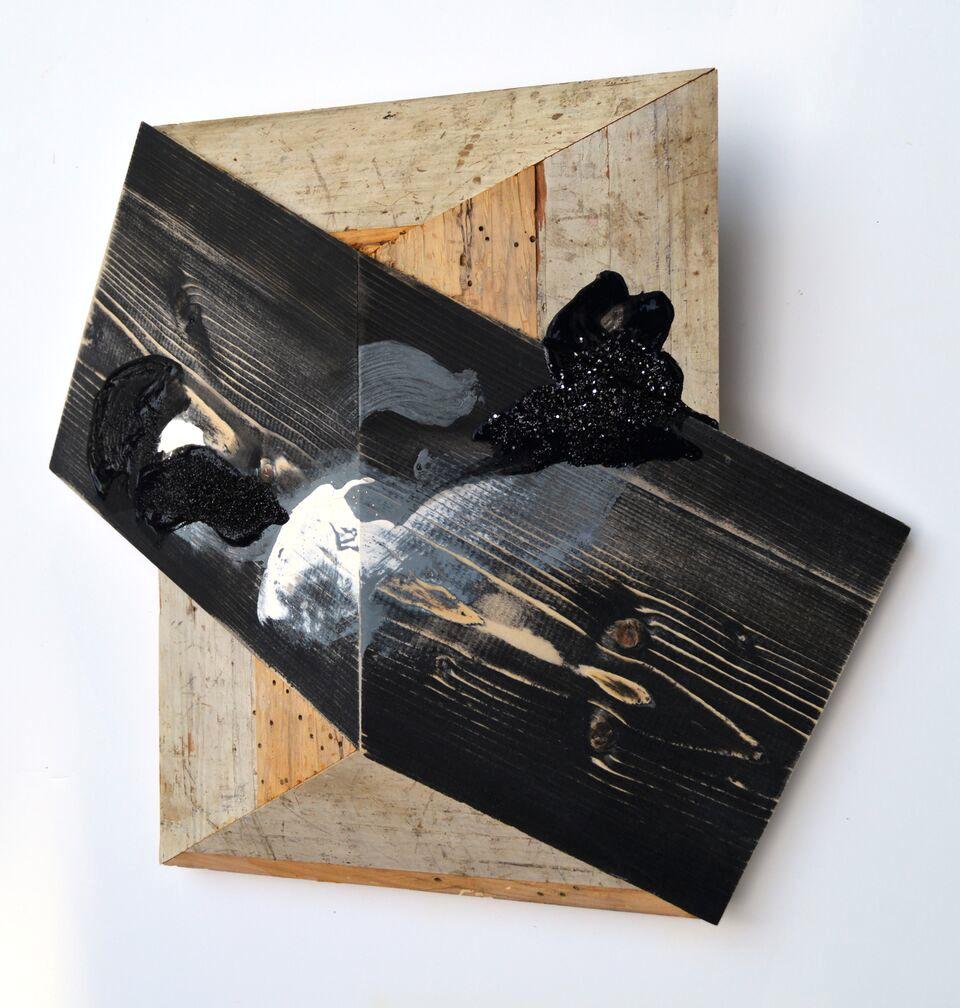 Melinda Rosenberg board series geometric sculpture painting reclaimed wood Sherrie Gallerie Short North Columbus Ohio Art Gallery