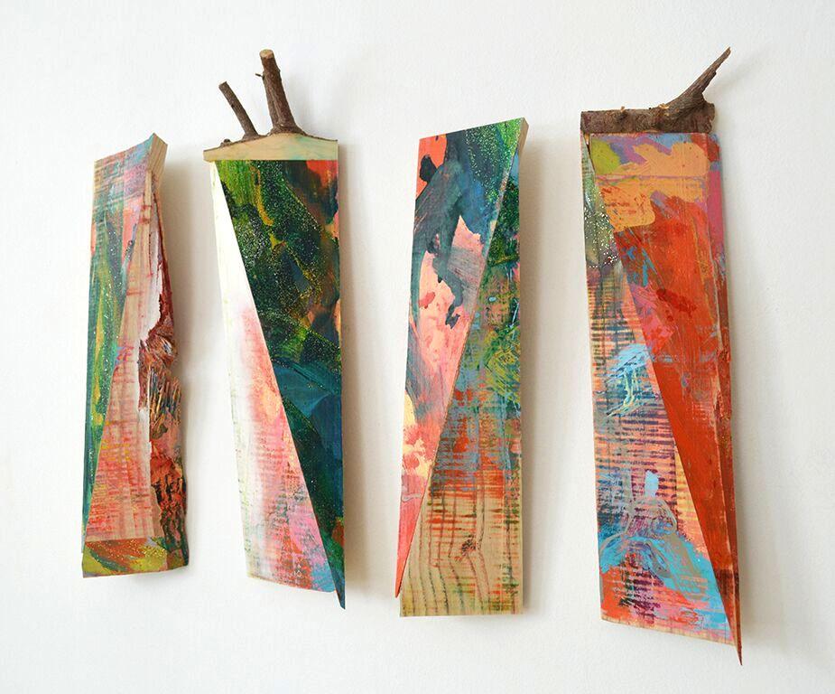Melinda Rosenberg installation geometric sculpture painting reclaimed wood found glitter Sherrie Gallerie Short North Columbus Ohio Art Gallery