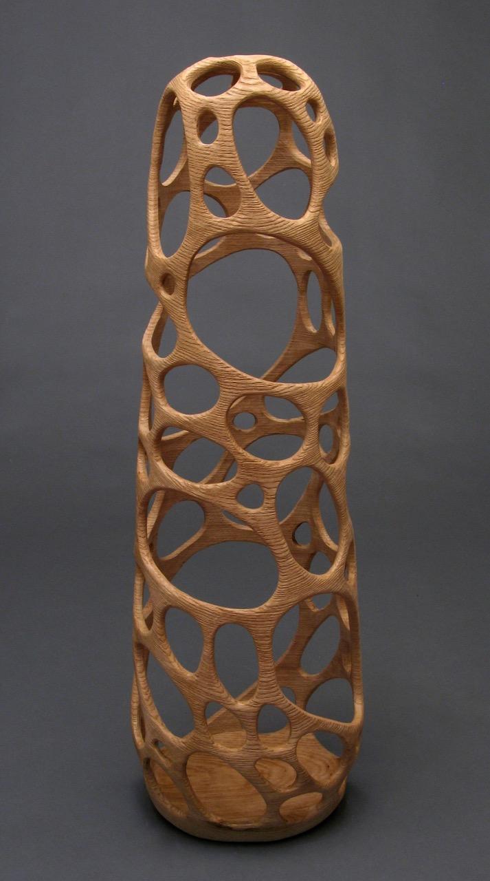 Michael Bauermeister wood sculpture vessels natural oak hollow tall figure Sherrie Gallerie Short North Columbus Ohio Art Gallery
