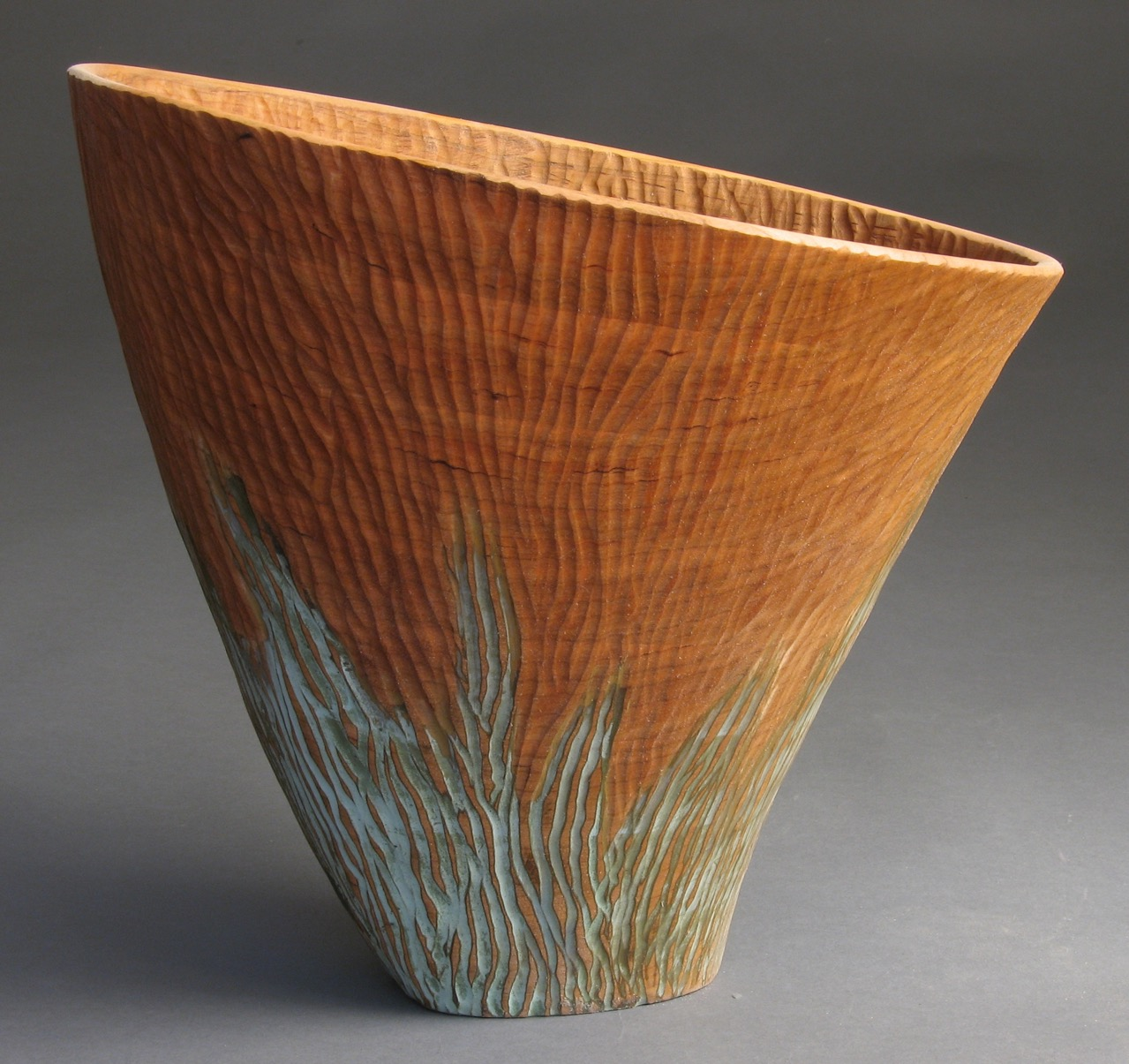 Michael Bauermeister rain arc vessel linden wood tinted lacquer carved totem urn decorative texture vase Sherrie Gallerie Short North Art Gallery Columbus Ohio