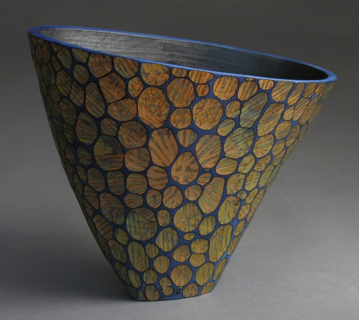 Michael Bauermeister blue arc vessel linden wood tinted lacquer carved totem urn decorative texture vase Sherrie Gallerie Short North Art Gallery Columbus Ohio