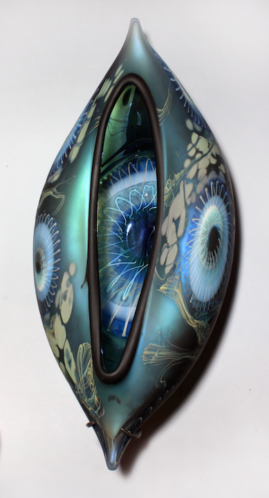William Ortman Iris Blue Orion Vessel wall piece blown art glass sculpture vase murrini murrine Sherrie Gallerie Short North Arts District Art Gallery Columbus Ohio