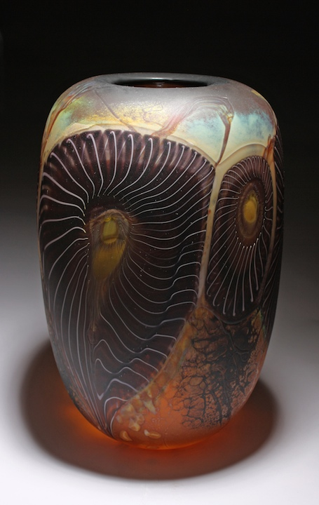 William Ortman Amber Trilobite Vessel blown art glass sculpture vase murrini murrine Sherrie Gallerie Short North Arts District Art Gallery Columbus Ohio
