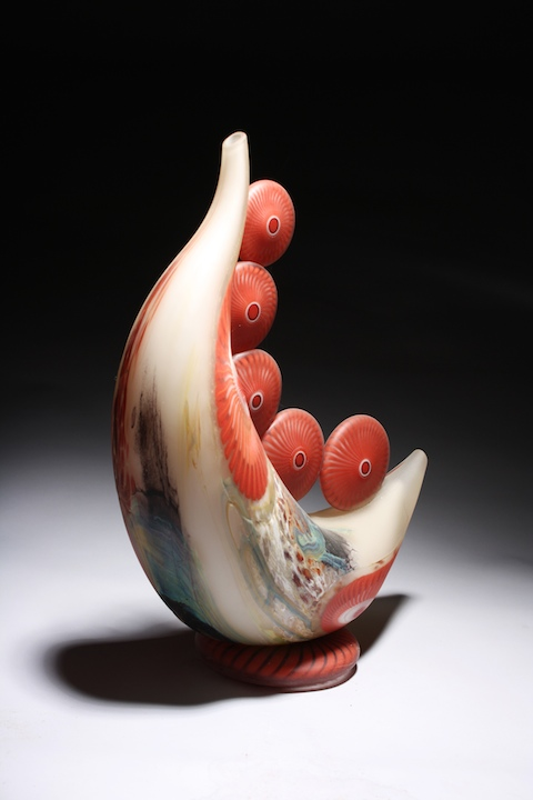 William Ortman Crimson Alkali Celestial Moon crescent blown art glass sculpture vase murrini murrine Sherrie Gallerie Short North Arts District Art Gallery Columbus Ohio