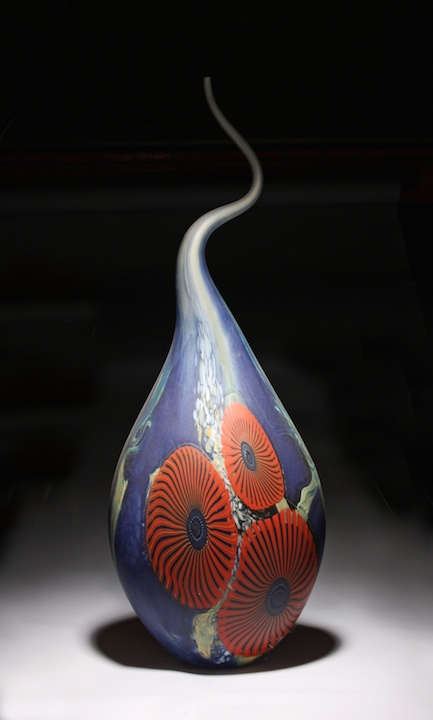 William Ortman Ocean poppy Teardrop blown art glass sculpture vase murrini murrine Sherrie Gallerie Short North Arts District Art Gallery Columbus Ohio