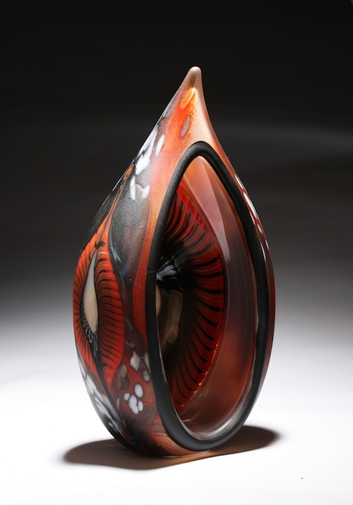 William Ortman Crimson Tribal Portal blown art glass sculpture vase murrini murrine Sherrie Gallerie Short North Arts District Art Gallery Columbus Ohio