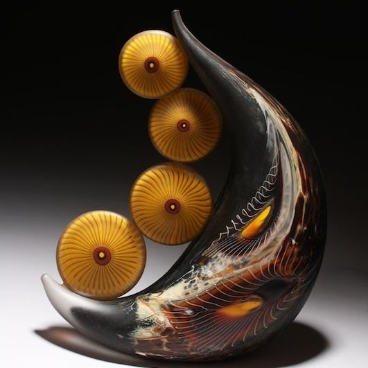 William Ortman, Aqueous Alkali Teardrop Vessel, blown glass, Sherrie Gallerie