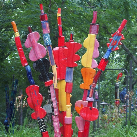 Russ Vogt, Palm, ceramic outdoor sculpture, totem, Sherrie Gallerie