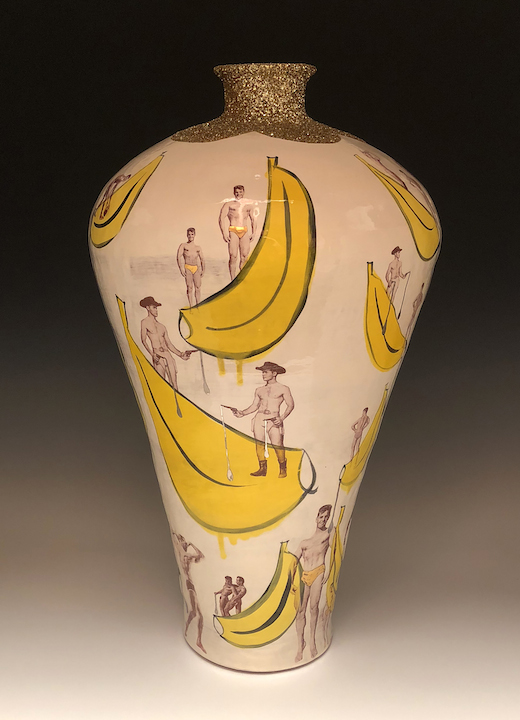 Wesley Harvey boys bananas vase ceramic clay functional pottery vintage decal queer lgbt contemporary Sherrie Gallerie Short North Art Gallery Columbus Ohio