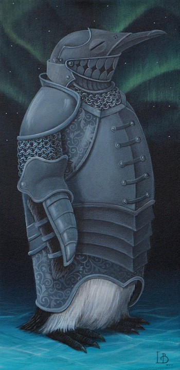 Laine Bachman Northern Knight penguin acrylic painting on canvas figurative fantasy royal animal portrait Sherrie Gallerie Short North Art Gallery Columbus Ohio