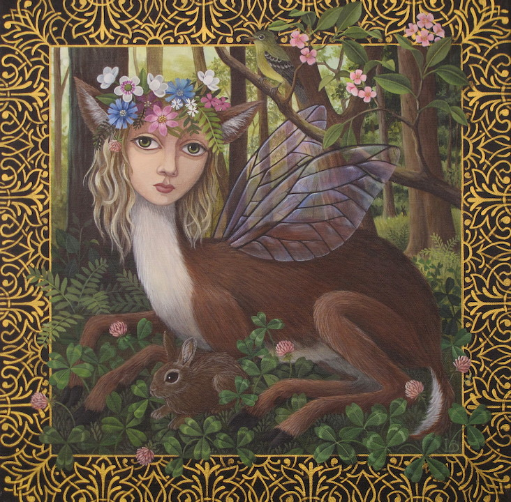 Laine Bachman Fairy Fawn acrylic painting on canvas figurative fantasy butterfly deer animal portrait Sherrie Gallerie Short North Art Gallery Columbus Ohio
