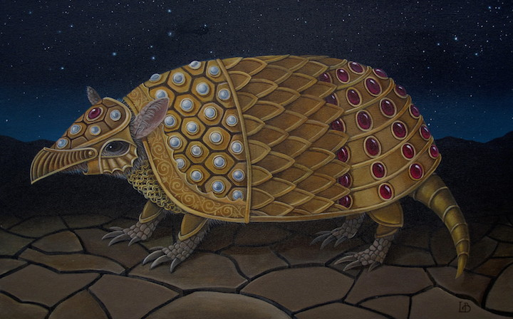 Laine Bachman Armordillo armadillo acrylic painting on canvas figurative fantasy royal animal portrait Sherrie Gallerie Short North Art Gallery Columbus Ohio