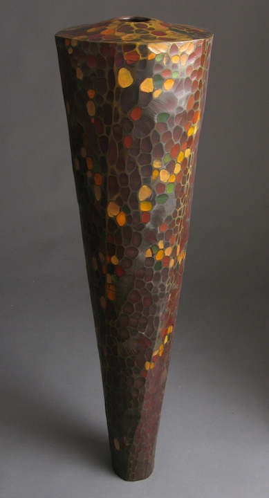 Michael Bauermeister autumn vessel linden wood tinted lacquer carved totem urn decorative texture vase Sherrie Gallerie Short North Art Gallery Columbus Ohio