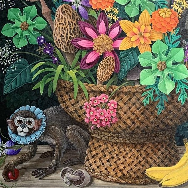 Laine Bachman Monkeys and Morels still life painting floral basket Sherrie GALLERIE short north art gallery columbus ohio