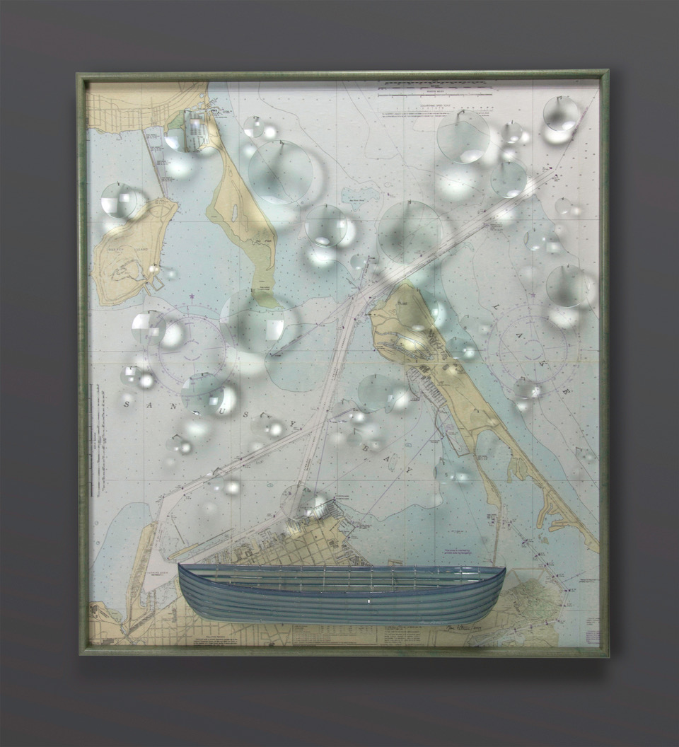 Marc Petrovic navigation boat map constellation blown sculpted glass contemporary art Sherrie Gallerie Short North Art Gallery Columbus Ohio