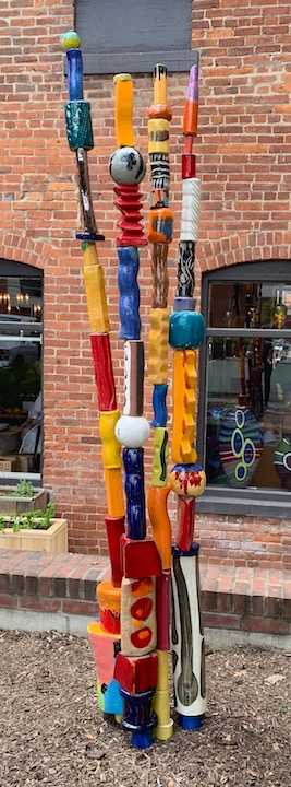 Russ Vogt ceramic outdoor sculpture reed totem pole colorful shapes midcentury outside abstract plant Sherrie Gallerie Short North Art Gallery Columbus Ohio