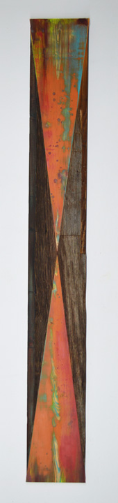 Melinda Rosenberg Inverse wall art installation wood reclaimed pine plywood maple contemporary art woodworking painting abstract geometric rustic recycled Sherrie Gallerie Short North Art Gallery Columbus Ohio
