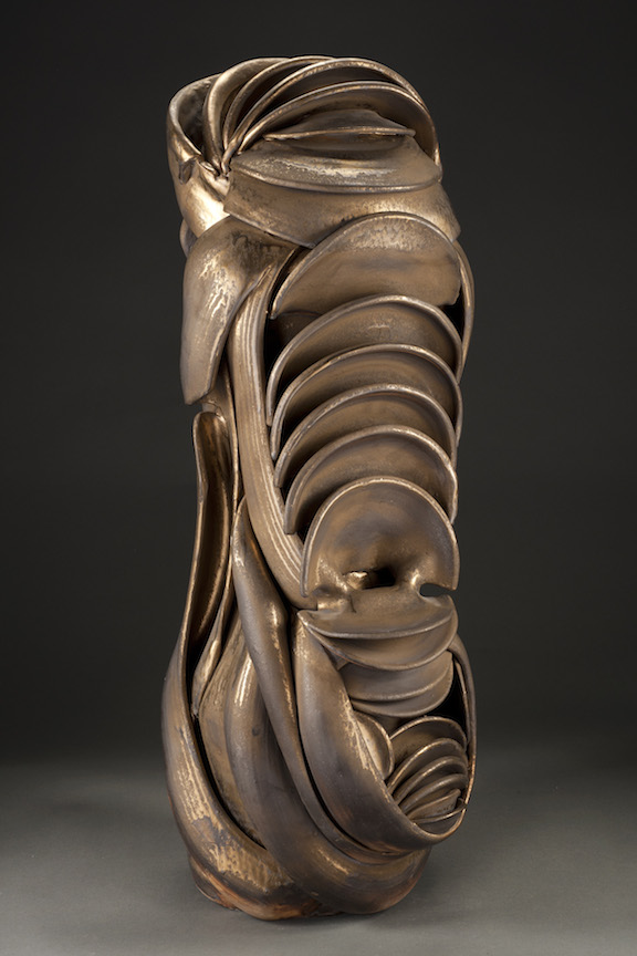 Hunter Stamps ceramic clay sculpture statue abstract art wood fired metallic tall natural neutral sophisticated contemporary Sherrie Gallerie Short North Art Gallery Columbus Ohio