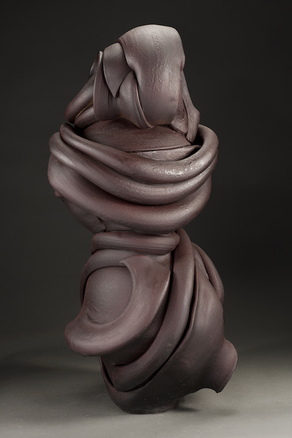 Hunter Stamps ceramic clay sculpture statue abstract art wood fired deep natural neutral sophisticated contemporary Sherrie Gallerie Short North Art Gallery Columbus Ohio