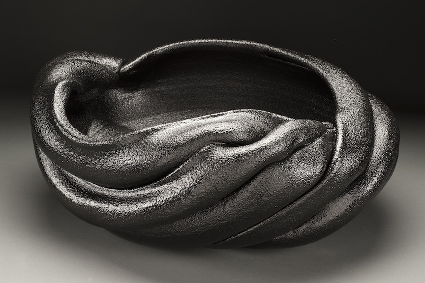 Hunter Stamps ceramic clay sculpture statue abstract art black texture bowl vessel natural neutral sophisticated contemporary Sherrie Gallerie Short North Art Gallery Columbus Ohio