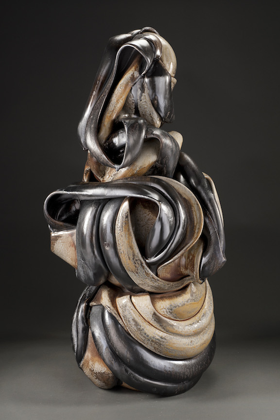 Hunter Stamps ceramic clay sculpture statue abstract art wood fired natural neutral sophisticated contemporary Sherrie Gallerie Short North Art Gallery Columbus Ohio