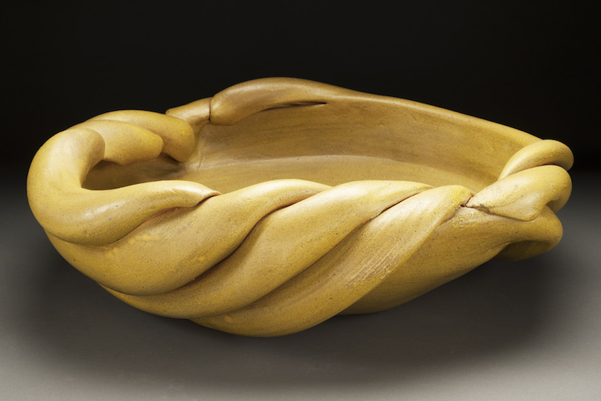 Hunter Stamps ceramic clay sculpture statue abstract art yellow bowl vessel natural neutral sophisticated contemporary Sherrie Gallerie Short North Art Gallery Columbus Ohio