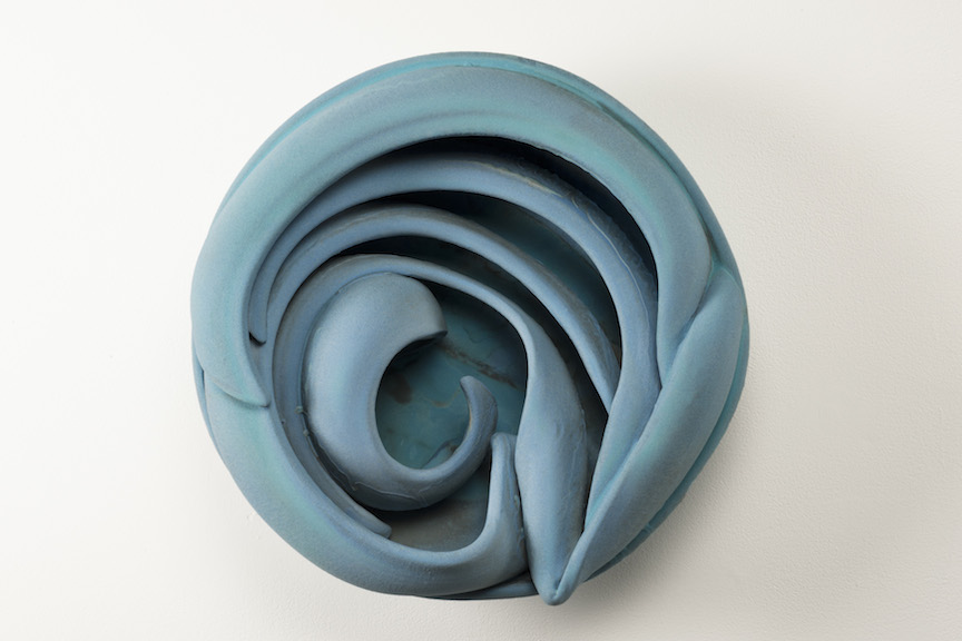 Hunter Stamps ceramic clay sculpture statue abstract art wall piece blue circle natural neutral sophisticated contemporary Sherrie Gallerie Short North Art Gallery Columbus Ohio
